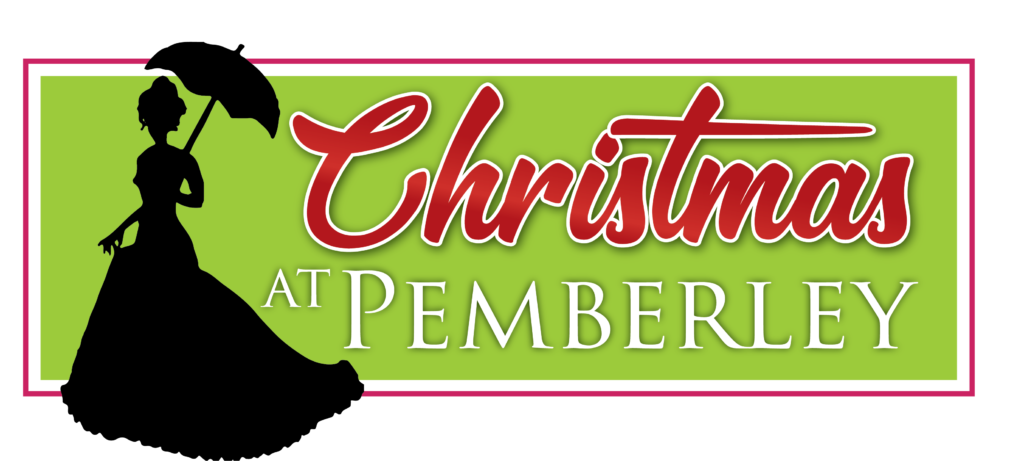 A silhouetted woman holds a parasol next to the title: Christmas at Pemberley