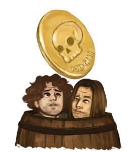 Two men are huddled in a barrel, looking at the coin flipping above their heads.