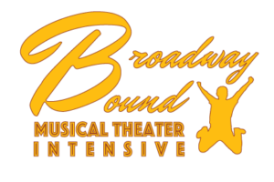 "A large gold ""B"" and jumping child are the focus of this logo. It reads Broadway Bound Musical Theater Intensive"